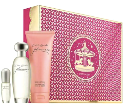 Estee Lauder Pleasures To Go for Women 3-Piece Set: 1.7 oz Eau de Parfum Spray, 3.4 oz Body Lotion, .14 oz Spray Mini