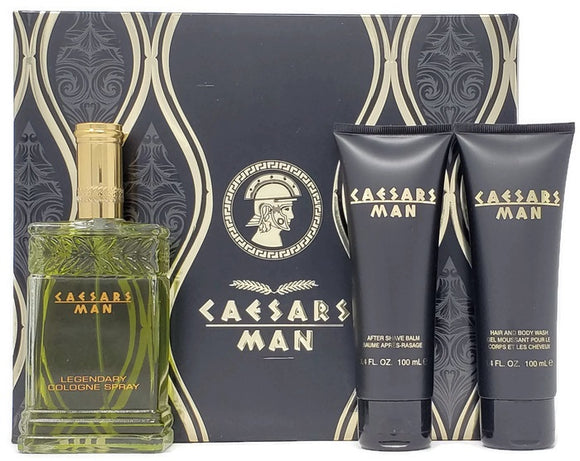 Caesars Man (Vintage) Caesars World Men 3 Pc Set: 4oz Legendary Cologne, 3.4oz After-Shave + Wash Discontinued - FragranceAndBeauty.com