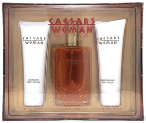 Caesars Woman (Vintage) by Caesars World for Women 3pc Set: 3.3 oz Extravagant Cologne, Body Cream + Wash - FragranceAndBeauty.com