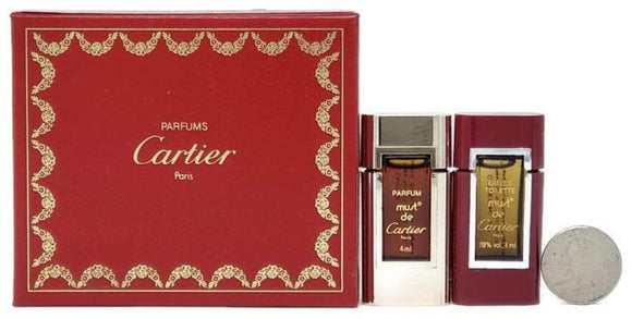 Must de Cartier (Vintage) for Women 2 Pc Set: 4 ml/.13 oz Parfum and EDT Miniature Splash - FragranceAndBeauty.com