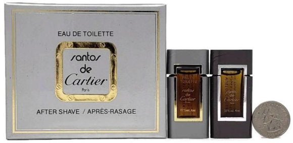 Santos de Cartier (Vintage) for Men 2 Pc Set: 4 ml/.13 oz EDT and After-Shave Miniature Splash - FragranceAndBeauty.com
