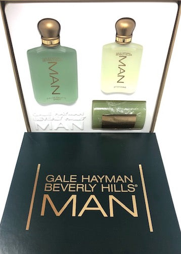 Man by Gale Hayman Beverly Hills for Men 3-Piece Set: 3.4 oz Eau de Toilette Spray + 1.7 oz After Shave + 6.13 oz Bath Soap