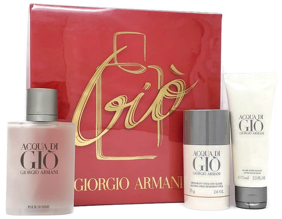 Acqua Di Gio Giorgio Armani Men 3PC Set: 3.4 oz EDT Spray, 2.6 oz Deodorant and 2.5 oz After Shave Balm - FragranceAndBeauty.com
