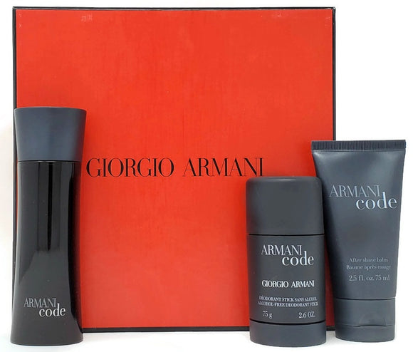 Armani Code (Original) by Giorgio Armani for Men 3-Piece Set: 2.5 oz EDT Spray 2.6 oz Deodorant 2.5 oz After Shave Balm - FragranceAndBeauty.com