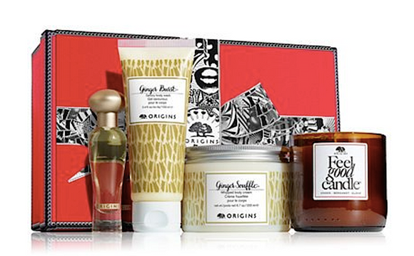Origins Ginger Essence Greats Unisex 4-Piece Set: .5oz Scent, Cream, Wash, Candle - FragranceAndBeauty.com