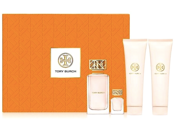 Tory Burch Signature for Women 4-Piece Set: 3.4 oz EDP + 3.4 oz Lotion + 3.4 oz Shower Gel + .24 oz Eau de Parfum Mini - FragranceAndBeauty.com