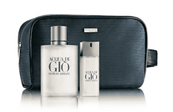 Acqua Di Gio by Giorgio Armani for Men 3-Piece Set 6.7 oz EDT Spray, .67 oz Travel Spray, Grooming Bag - FragranceAndBeauty.com