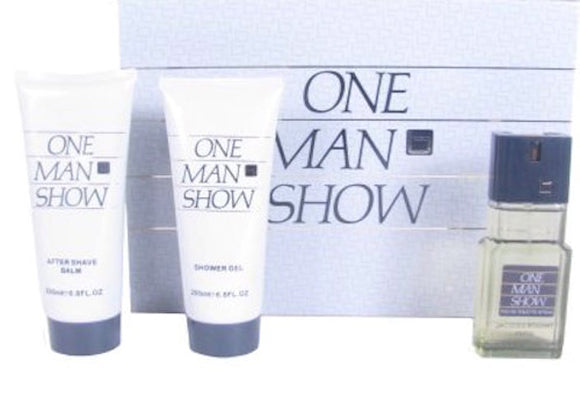One Man Show by Jacques Bogart for Men 3-Piece Set: 3.33 oz Eau de Toilette Spray. 6.7 oz After Shave Balm + Shower Gel