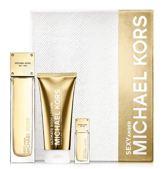Michael Kors Sexy Amber  Women 3-Piece Set: 3.4 oz EDP + .24 oz EDP Mini + 3.4 oz Ultimate Creme - FragranceAndBeauty.com