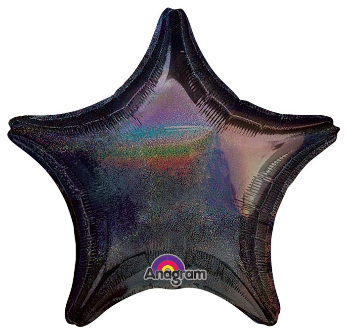 "18"" Holographic Star Black Dazzler Star Balloon"