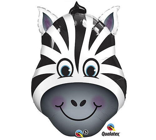 "18"" Zebra Face Shape Mylar Balloon"