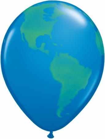 "11"" Planet Globe Earth World Latex Balloons"
