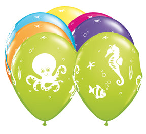 "11"" Fun Sea Creatures Tropical Latex Balloons"