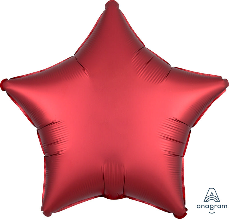 "18"" Satin Luxe™ Red Sangria Star Foil Balloon"