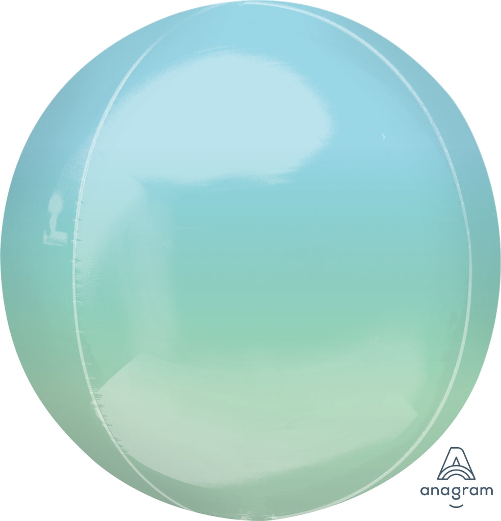 "16"" Blue and Green Ombre Orbz Foil Balloon"