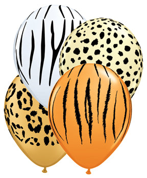 "11"" Assorted Animal Print Latex Balloons"