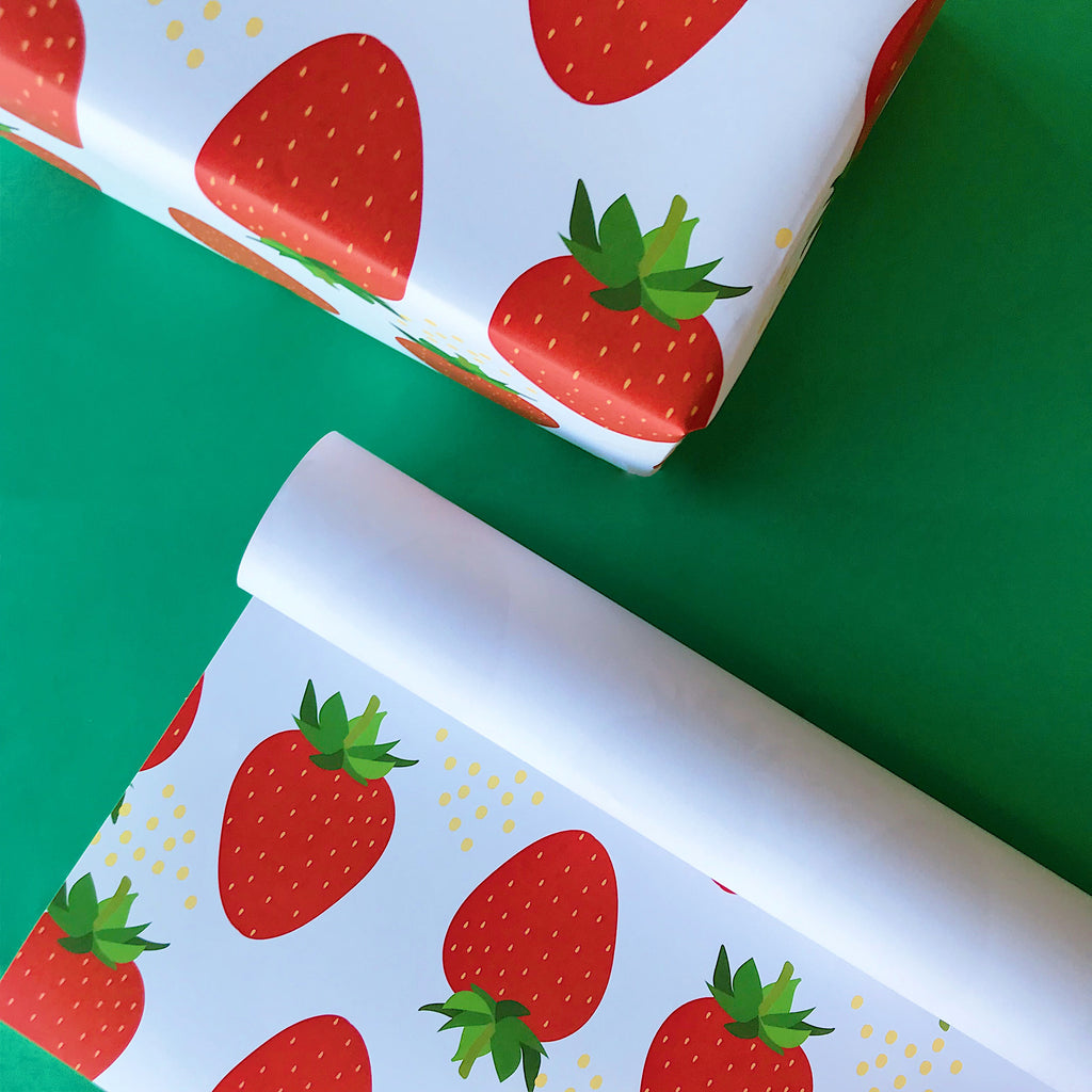 Illustrated Strawberry Gift Wrap Sheet