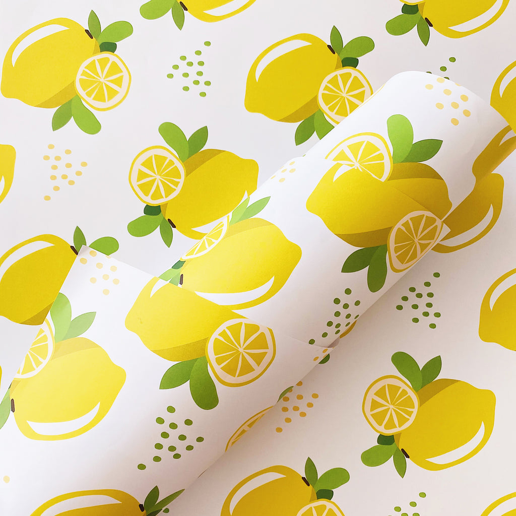 Illustrated Lemon Gift Wrap Sheet