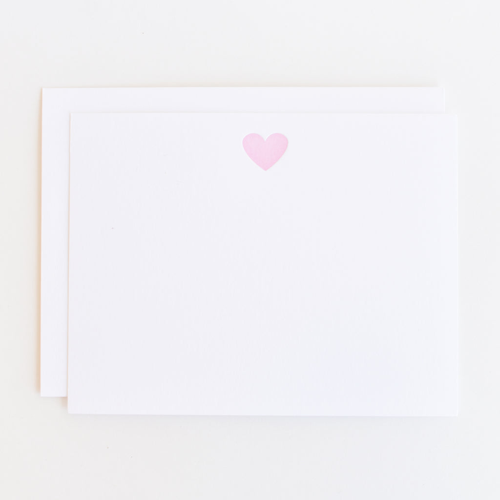 Pink Heart - Letterpress Stationery Set of 12