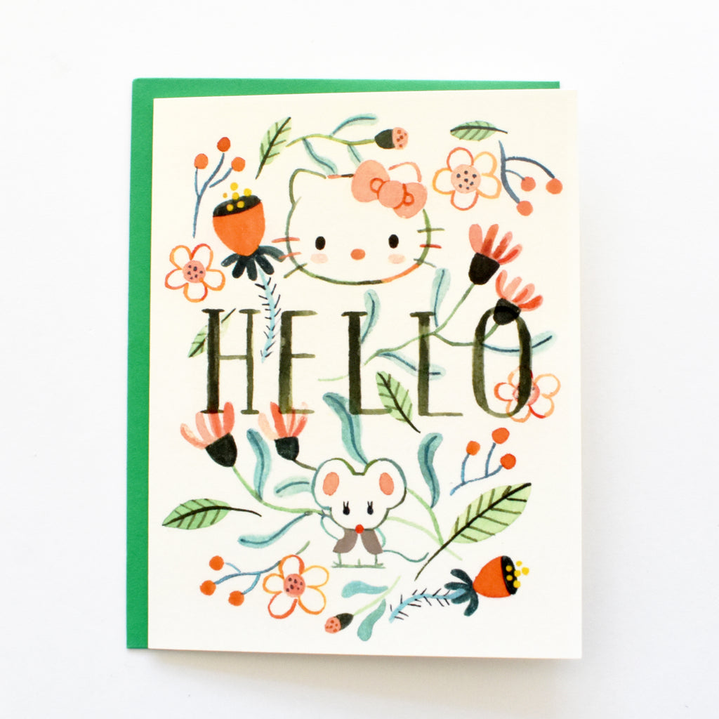 Hello Kitty Floral Card