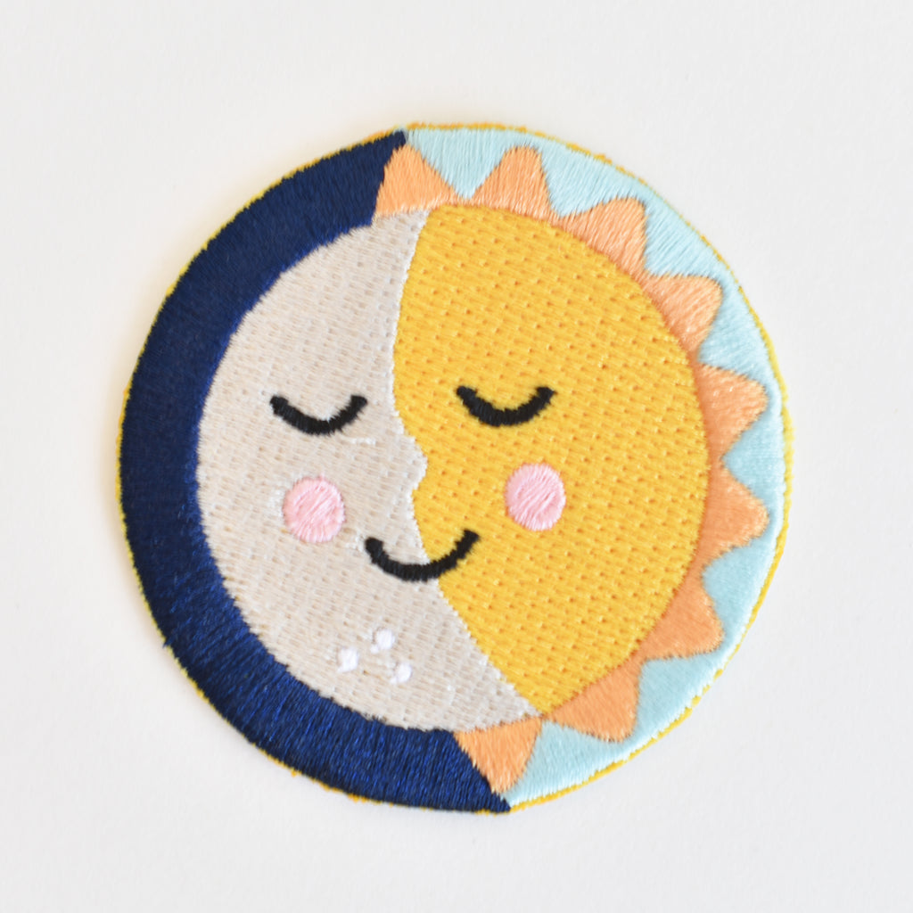 "Celestial sun and moon ""solmates"" iron-on embroidered patch"