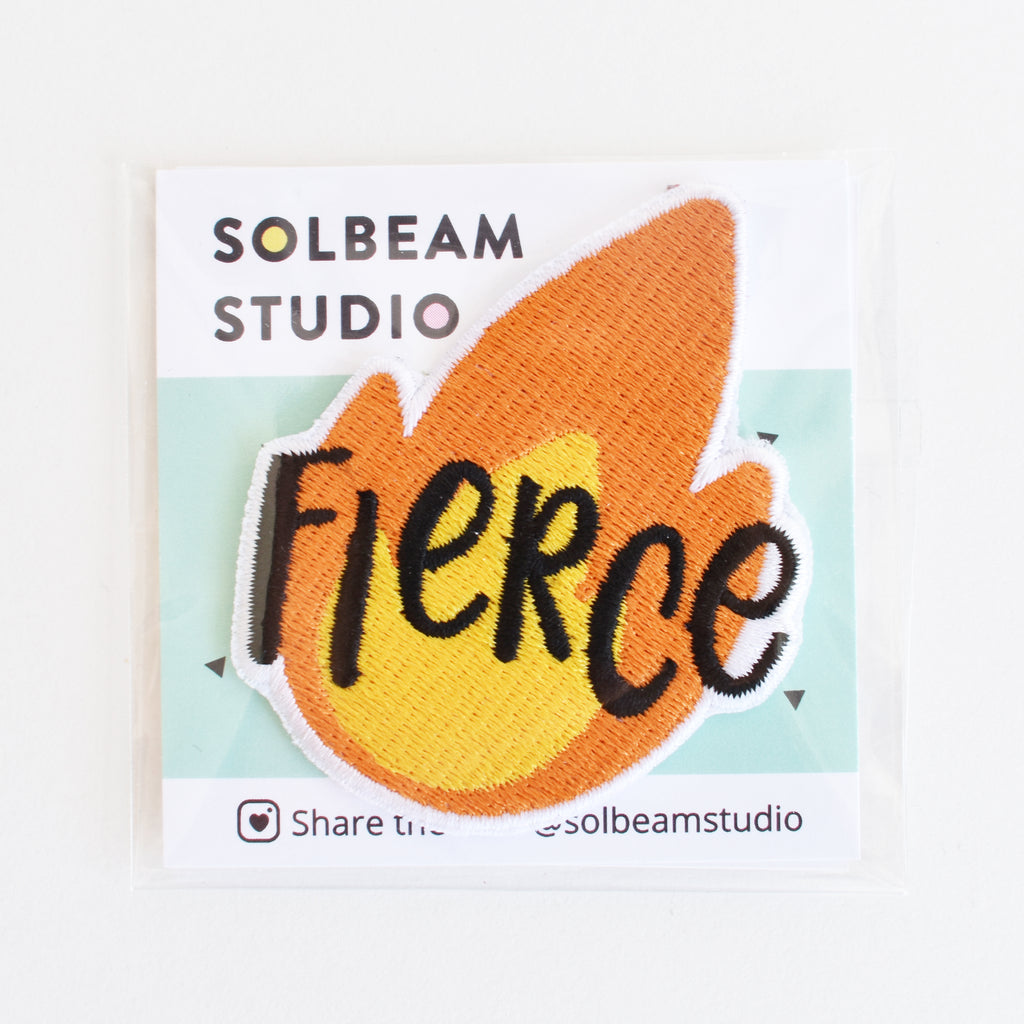 Fierce flame emoji iron-on embroidered patch