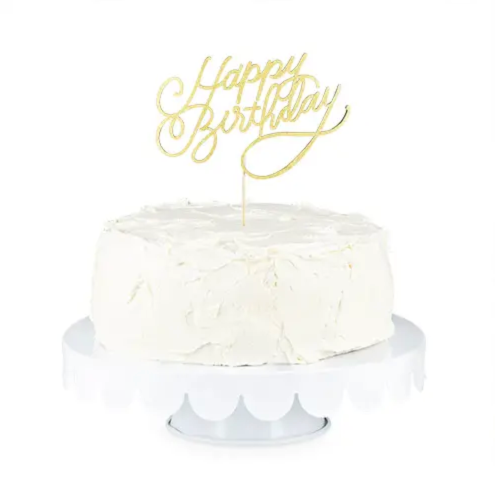 Gold Happy Birthday Paper Cake Topper