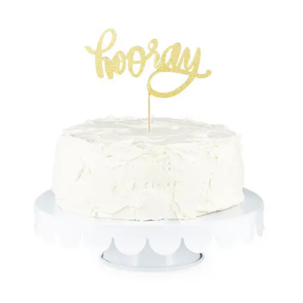 Gold Hooray Paper Cake Topper