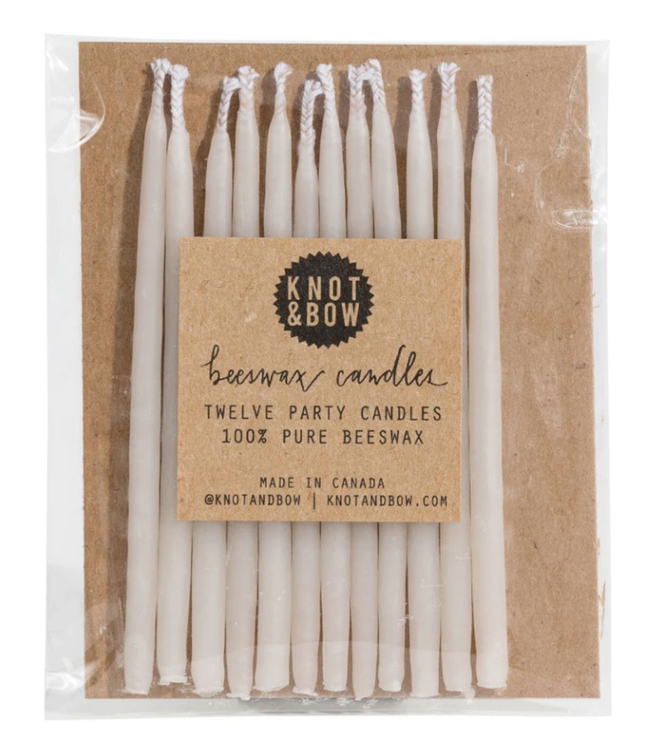 Natural Beeswax Party Candles Ivory