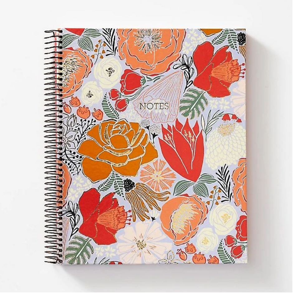 Coral Bold Blooms Notebook