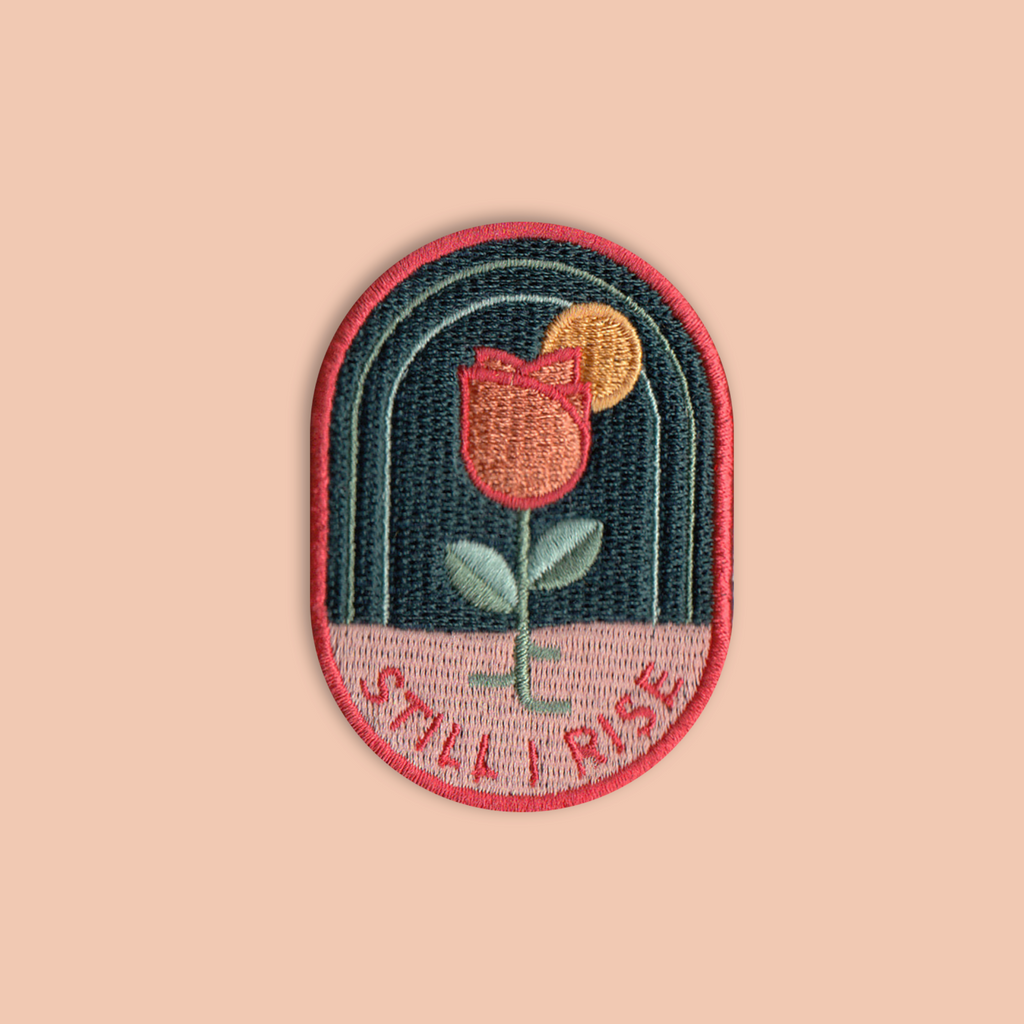 """Still I Rise"" Desert Rose Iron-on Embroidered Patch"