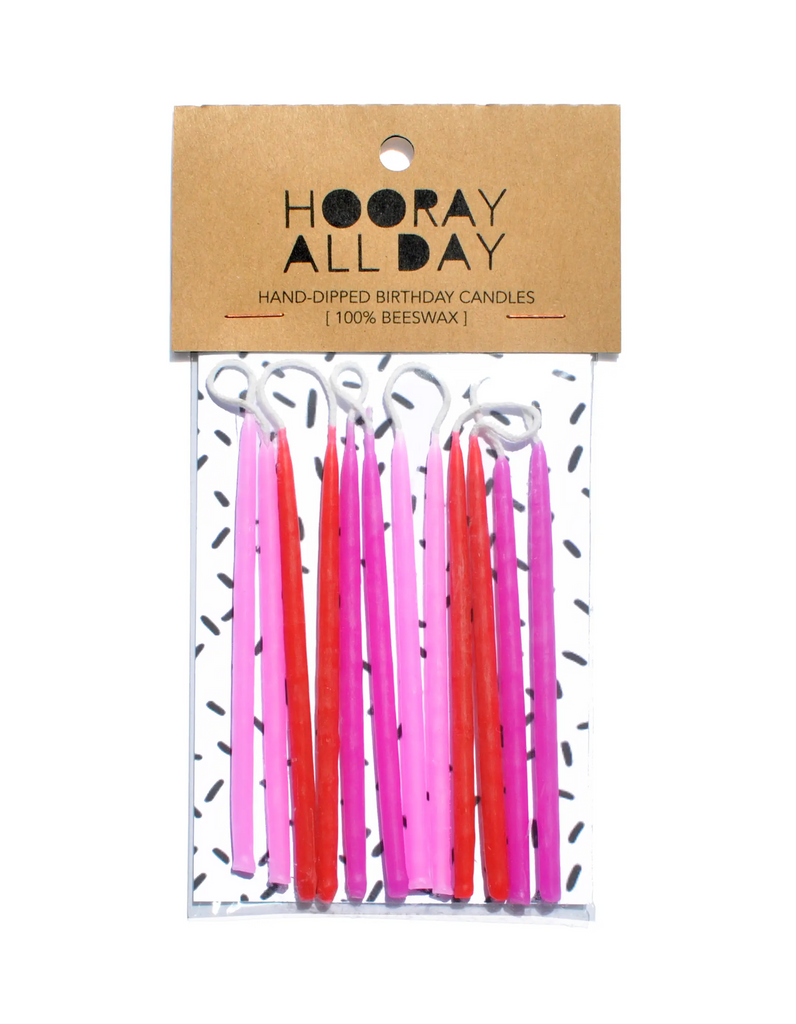 100% Beeswax Hand-Dipped Birthday Candles - Pinks