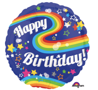 "28"" Jumbo HBD Colorful Rainbow Fun Balloon"