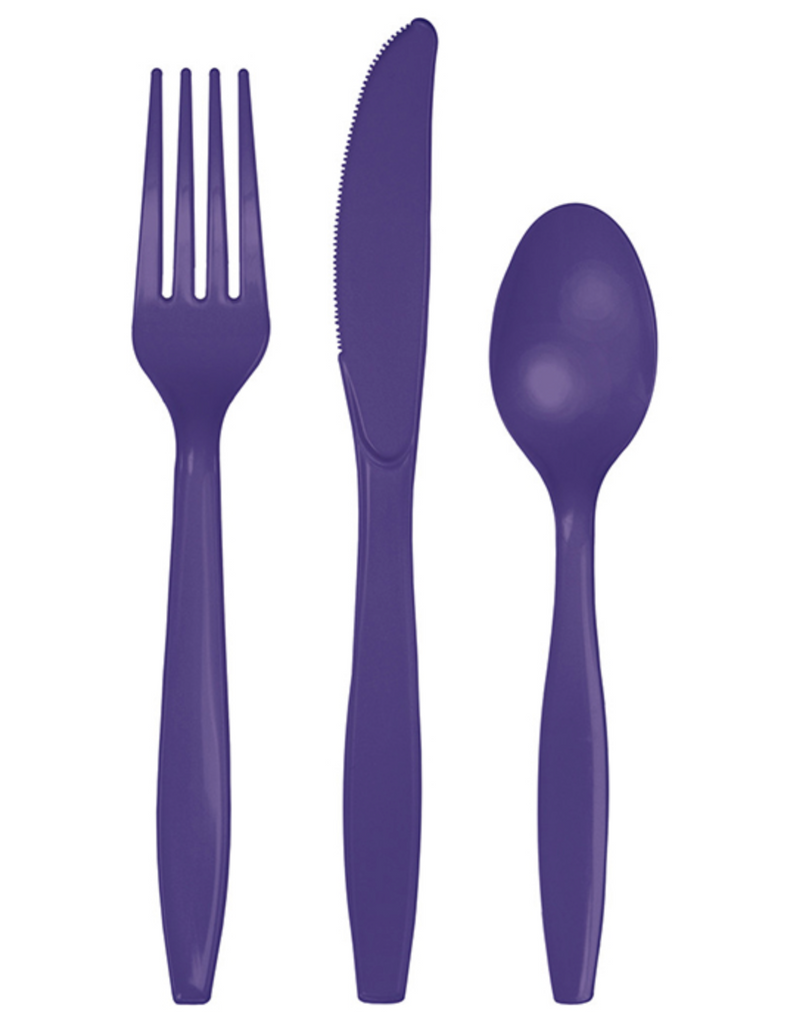 Purple Party Plastic Cutlery Set