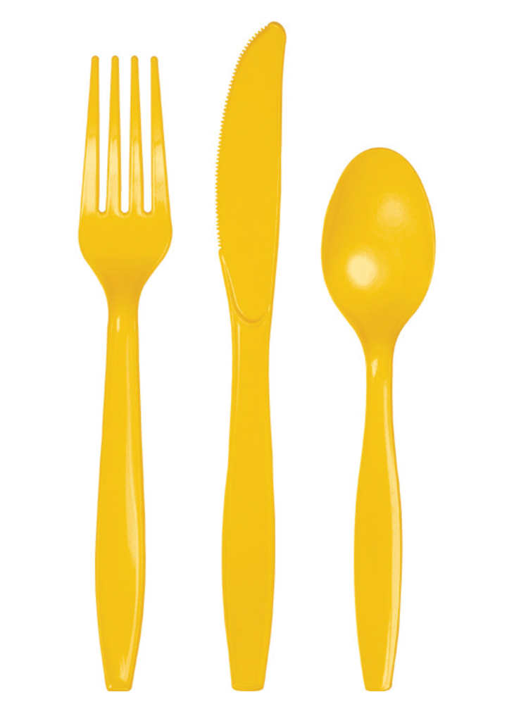 Yellow Party Plastic Cutlery Set