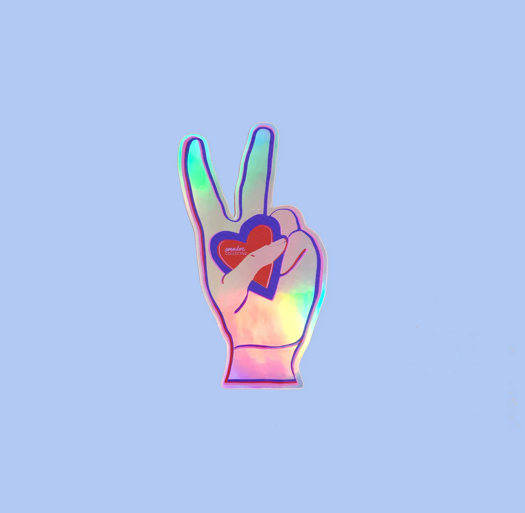 Peace Love Amador Holographic Sticker