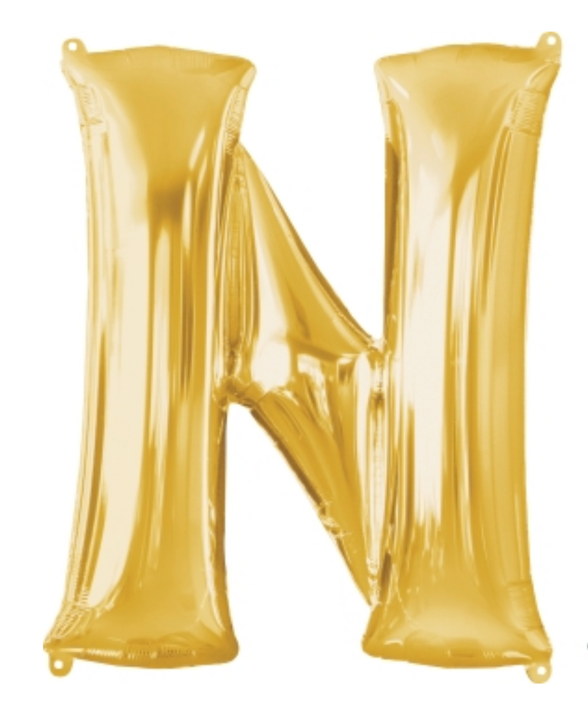 "32"" Letter ""N"" Gold Balloon"