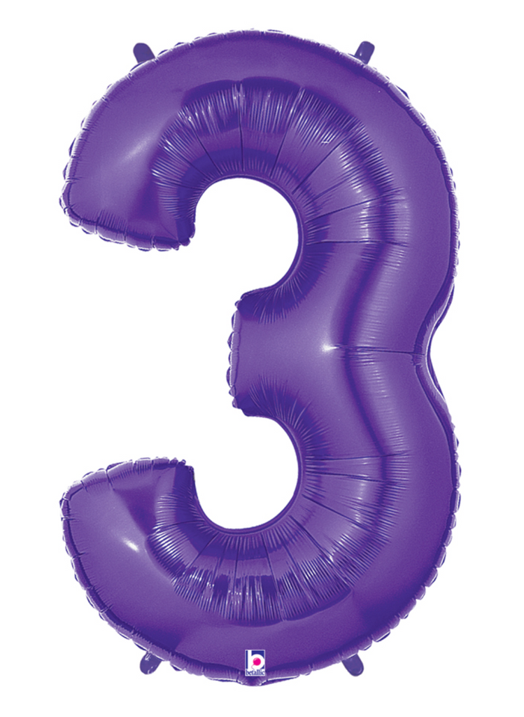 "40"" Number ""3"" Purple Balloon"