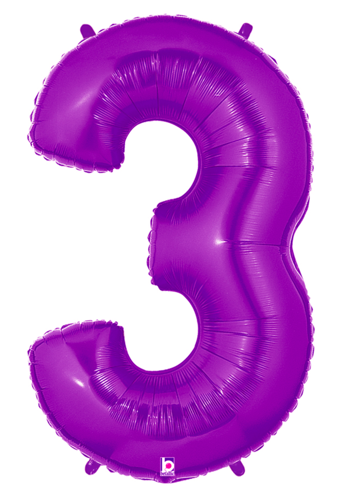 "40"" Number ""3"" Purple/Magenta Balloon"