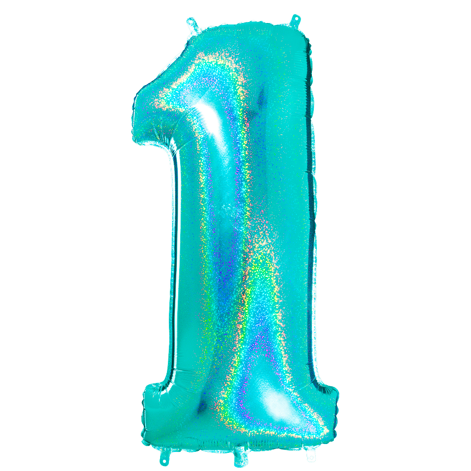 "40"" Number ""1"" Tiffany Glitter Holographic Balloon"