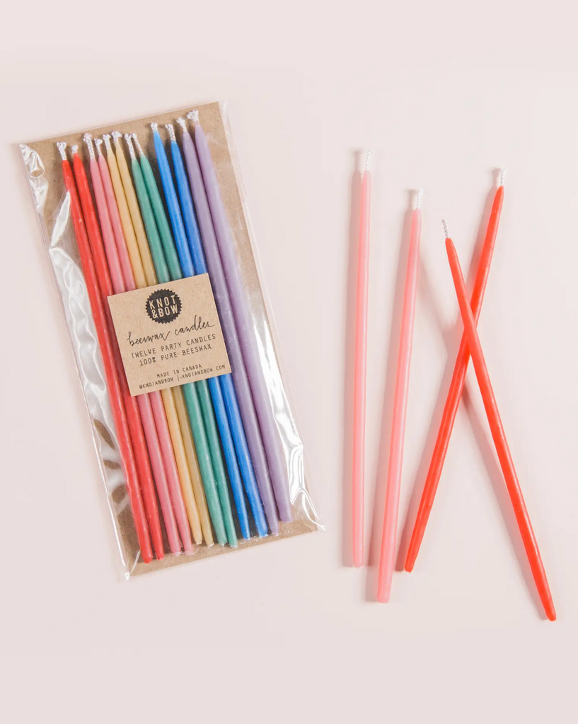 Assorted Tall Beeswax Birthday Candles  Rainbow