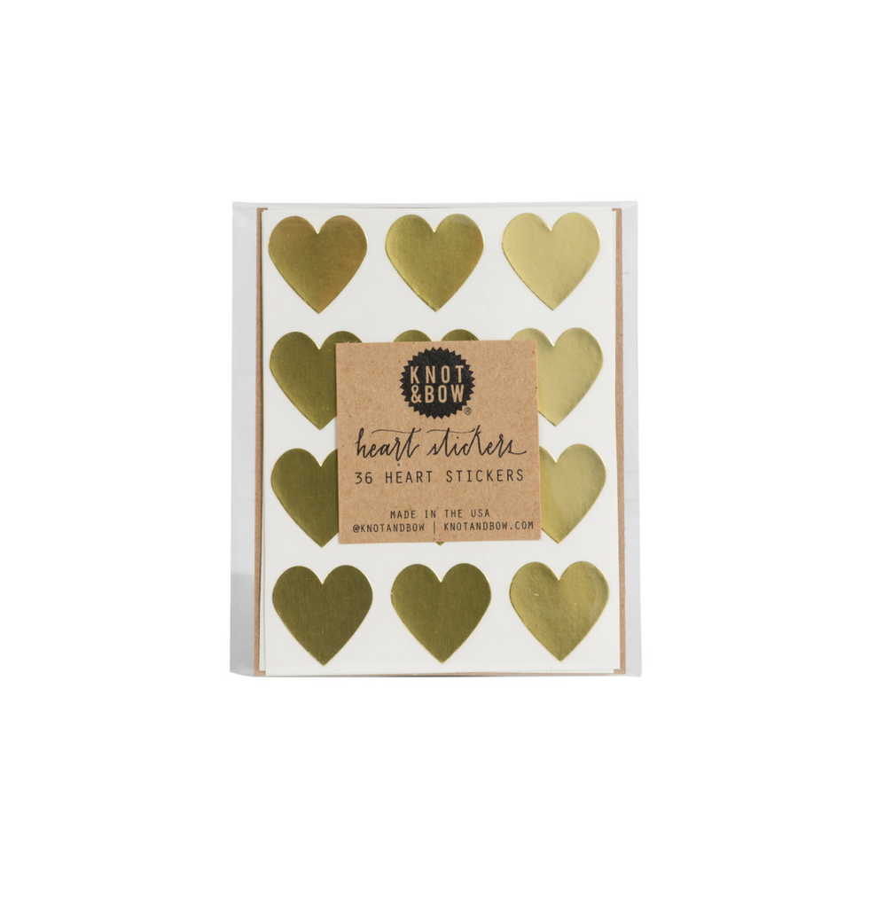 Gold Heart Stickers (Pack of 36)