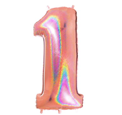 "40"" Number ""1"" Rose Gold Glitter Holographic Balloons"