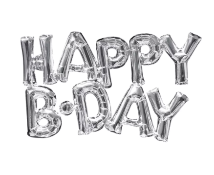 Air-Filled Silver Happy B-Day Letter Balloon Banner