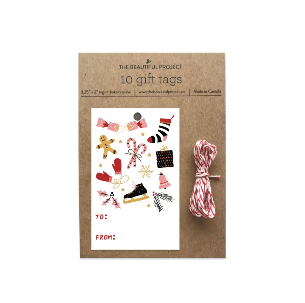 Christmas Winter Holiday Gift Tags - Set of 10 with Twine