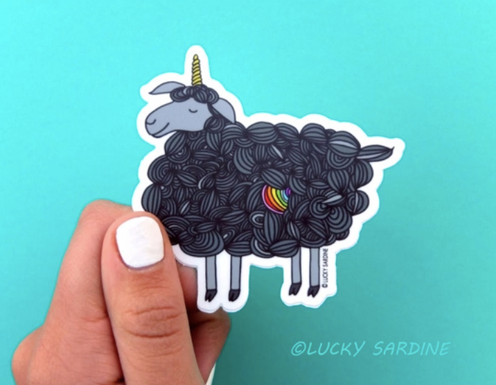 Black Sheep Unicorn Vinyl Sticker