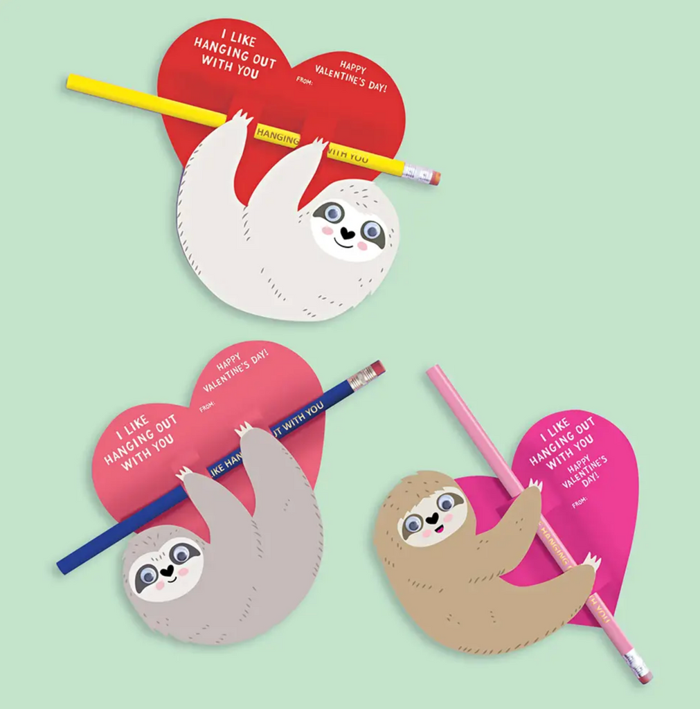 Sloth with Pencil DIY Valentine's Card Kit