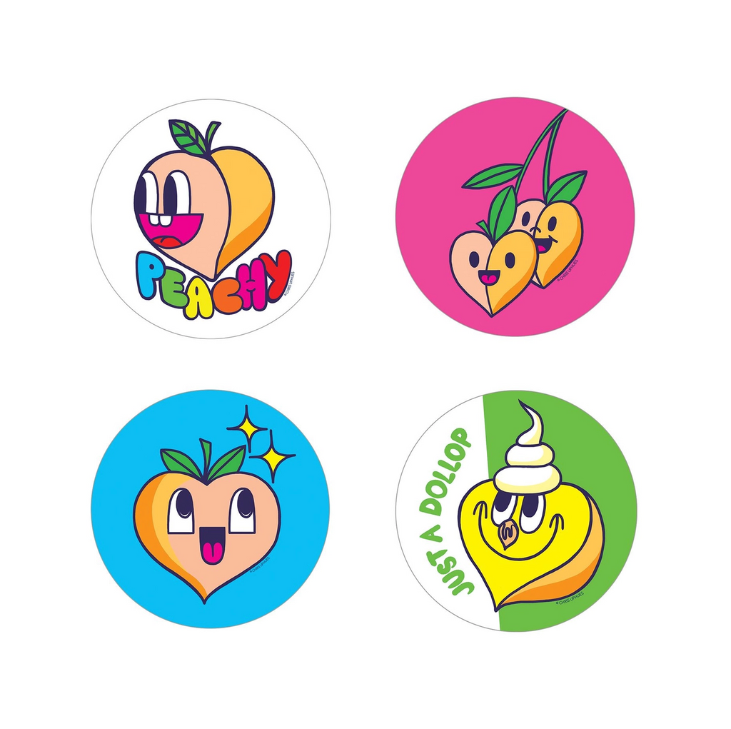 Scratch and Sniff Sticker Set of 16 - Peach