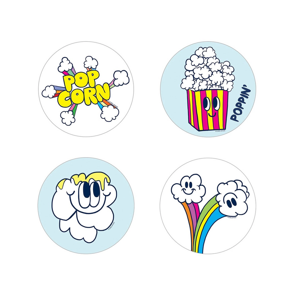 Scratch and Sniff Sticker Set of 16 - Popcorn