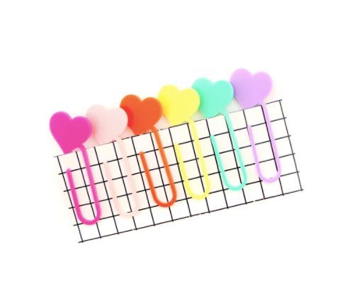 Heart Acrylic Paper Clip - Set of 6